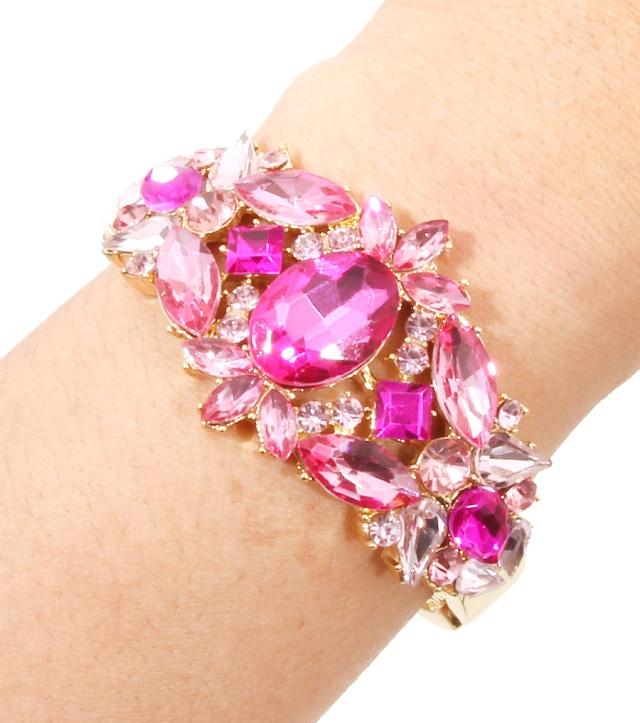 Pink Crystal Hinge Bracelet